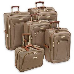 @Overstock.com - Travel in style with this wheeled Buckingham luggage set from London Fog.  This 5-piece luggage set is constructed of durable polyester to keep up with you on all your adventures. http://www.overstock.com/Luggage-Bags/London-Fog-Buckingham-Tan-Jacquard-5-piece-Luggage-Set/5515390/product.html?CID=214117 $319.99