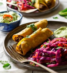 Easy Vegan Taquitos with Avocado Mayo and Mexican Slaw #easy #vegan #mexican