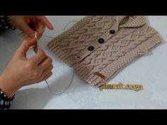Making a shawl collar baby vest, part 1 Crochet Flower Patterns, Baby Knitting Patterns, Crochet Designs, Crochet Baby, Free Crochet, Baby Boy Vest, Boys Sweaters, Crochet Videos, Crochet For Beginners