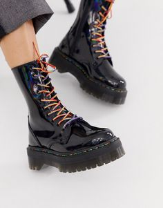 Buy Dr Martens Jadon X flatform chunky leather boots in black rainbow at ASOS. Get the latest trends with ASOS now. Dr Martens Jadon, Botas Dr Martens, Doc Martens Boots, Doc Martens Outfit, Sock Shoes, Cute Shoes, Me Too Shoes, Shoe Boots, Black Leather Heels