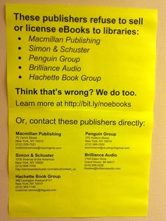 Publishers who won't sell or license e-books to libraries. Uncool, people.