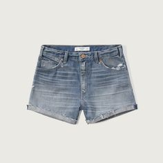 Abercrombie & Fitch High Rise 4 Inch Denim Shorts ($58) ❤ liked on Polyvore featuring shorts, medium wash, distressed denim shorts, distressed high waisted shorts, high-rise shorts, cuffed denim shorts and destroyed jean shorts