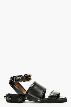 Givenchy Black Nappa Leather Jewel Stud Sandals for women | SSENSE