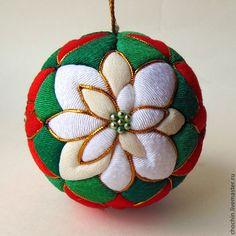 Новый год 2015 ручной работы. Ярмарка Мастеров - ручная работа Пуансеттия - елочный шар коллекционный кимекоми кимэкоми. Handmade.
