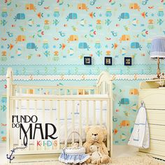 Estampa Fundo do Mar Kids desenvolvida para papel de parede. Disponível em nosso acervo.  Para solicitar essa e/ou outras estampas entre em contato pelo e-mail: contato@estudiolabart.com.br