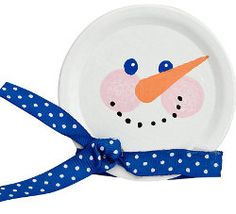 Paper plate snowman. So many options - could do the face with paint, tissue paper, construction paper, etc. Could also use different size paper plates to make the whole body.