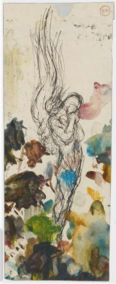 Gustave Moreau: Watercolour palette with study of an angel, 19th C. / Paris, musée Gustave Moreau
