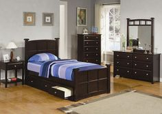 Jasper Dresser, Mirror, Chest, Full Bed and One Nightstand   The Jasper bedroom set has a rich dark finish made with durable materials. This spacious bed set has plenty of room for storage.