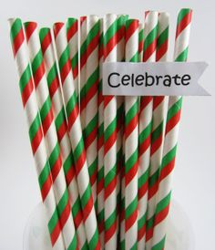 25 Red, Green and White, Christmas, Italian Bistro, Pizza Party, Paper Straws, Cake Pop Sticks, Crafting