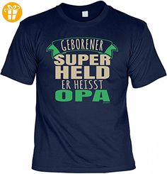 T-Shirt Grossvater - Geborener Superheld heisst Opa - Geschenk Idee mit Humor  zum Vatertag