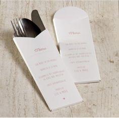 Wil je alle gasten verrassen met een mooie gedekte tafel? Dan mag deze originele bestekhouder zeker niet ontbreken. Bestekpochette, origineel design, handig in elkaar te zetten. Toevoegen van motiefjes mogelijk.