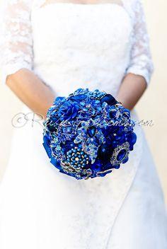 "Cobalt Blue Wedding Brooch Bouquet. ""Blue Galaxy"" Wedding Bouquet. Heirloom Bridal Broach Bouquet. Ruby Blooms Wedding"