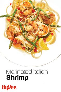 What makes this recipe Italian? Maybe it's the pasta. Or the white wine. Regardless, we highly recommend this marinated shrimp pasta recipe. Italian Dishes, Italian Recipes, Marinated Shrimp, Healthy Food, Healthy Recipes, Pioneer Woman Recipes, Fresh Asparagus, Shrimp Pasta Recipes, Roasted Red Peppers