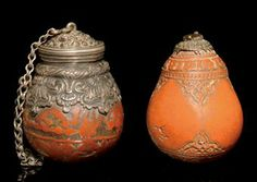 TWO SAFAVID SILVER MOUNTED ENGRAVED GOURD FLASKS, INDIA, 17TH-18TH CENTURY
