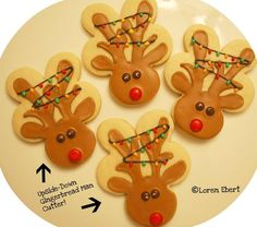 Reindeer Cookie using a gingerbread man cookie cutter upside down. Cute.