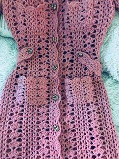 Reserved for Mori Vintage Coat Boho Long Knit Crochet Jacket Hippie Chic Dusty Pink Bohemian Festival Clothing Boho Jacket Crochet Baby Boots, Crochet Coat, Crochet Jacket, Crochet Clothes, Hippie Chic, Boho Chic, Crochet Shell Pattern, Gilet Long, Style Boho