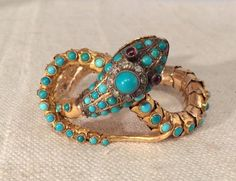 Antique Victorian Magnificent 14k Gold Turquoise Ruby & Diamond Snake Bracelet