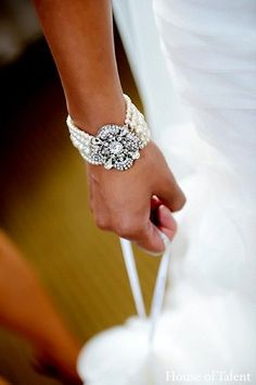 A pearl and diamond bracelet for a wedding.