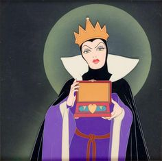 """""""Snow White and the Seven Dwarfs"""" 1937 Courvoisier production cel set-up Disney fine art of the Evil Queen holding the heart box"""
