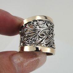 Jewela Silver Gold filigree band size 8 (s r11300. $98.00, via Etsy.
