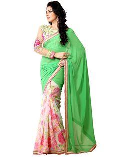 Spectacular off white, green color georgette saree. Item Code : SANA910 http://www.bharatplaza.com/new-arrivals/sarees.html