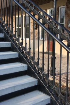 "42"" tall cast iron stair railings. Engineered for fall protection."