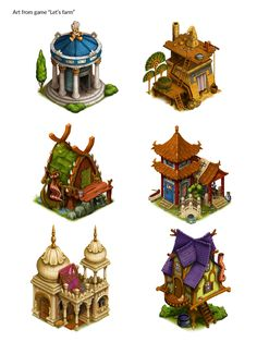 game assets from the farm kind of game. Fantasy Landscape, Landscape Art, Fantasy House, Fantasy Art, Game Design, Web Design, Halloween Diorama, Buildings Artwork, Isometric Drawing