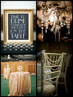 Decor ideas for a Great Gatsby wedding. - pearls, feathers, and anything metallic