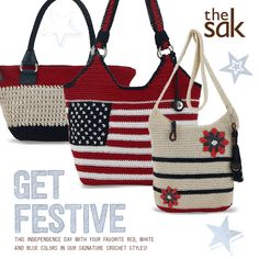 Get festive this Independence Day with your favorite red, white and blue colors in our signature crochet styles!