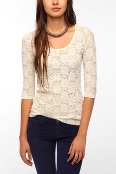 Urban Outfitters - Pins and Needles 3/4 Sleeve Lace Tee