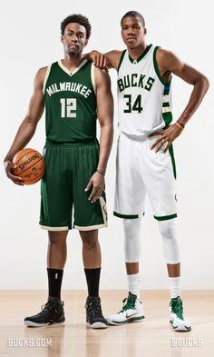 Giannis and Jabari showing off the Milwaukee Bucks' new home and away uniforms.