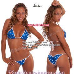 Butterfly Bikini, Blue w/white stars