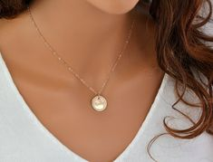 Name Disc Necklace, Monogram Necklace, Initial Disc, Engraved Name Disc Necklace, Gold Monogram Disc, Silver Disc, Rose Gold