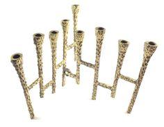 Hanukkah Menorah Folding Cast Bronze Candle by ForsythiaHill
