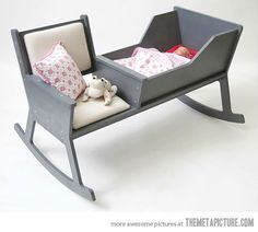 Genius design: rock the cradle and yourself! Just gotta make it pink