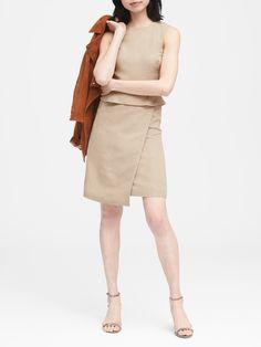 Linen-Blend Sheath Dress|banana-republic