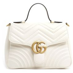 GUCCI 'Gg Marmont 2.0' Hand Bag (39,210 EGP) ❤ liked on Polyvore featuring bags, handbags, man bag, white handbag, white hand bags, leather handbag purse and real leather handbags
