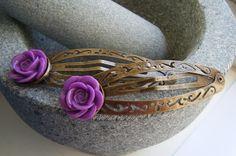 PURPLE FLOWER large antiqued bronze hair clip £4.00