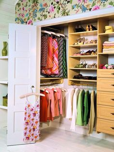 deep, skinney closet idea's!  Love the rod's from front to back.  Great idea!  Also, the folding doors help open it up.