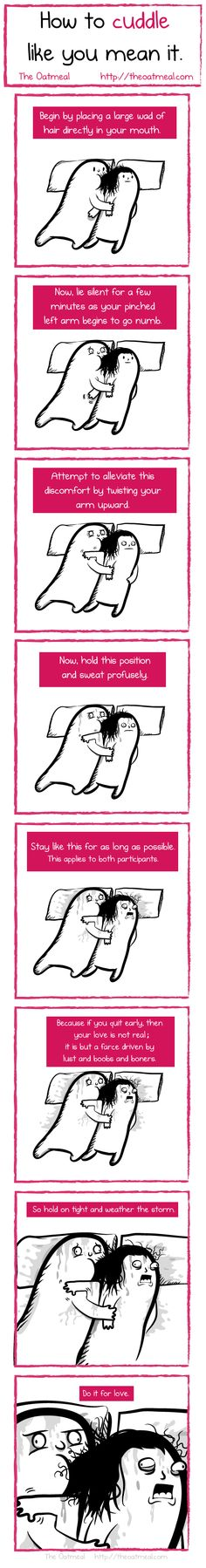 how to cuddle like you mean it (boyfriend insisted on testing this) - the oatmeal