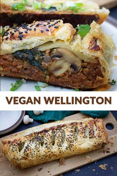 Heres how to make an a-m-a-z-i-n-g vegan Wellington at home - easy and healthy! Enjoy a delicious beef-like filling wrapped in buttery puff pastry and baked with love! Vegan Appetizers, Appetizer Recipes, Easter Recipes, Vegan Vegetarian, Vegetarian Recipes, Vegan Food, Vegan Wellington, Vegan Main Dishes, Side Recipes