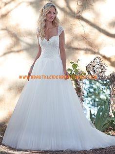 A-linie Romantische Schöne Brautkleider aus Softnetz mit Schleppe