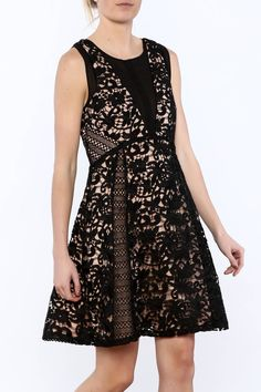 Black lace sleeveless lined with beige fabric. A-line, fit and flare dress with hidden zipper closure at the back. Sheer Dress, Gold Dress, Lace Outfit, Dress Outfits, Fashion Outfits, Fit And Flare, Lace Summer Dresses, Date Night Dresses, Vestidos
