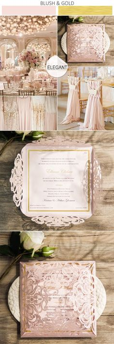 blush pink and gold wedding colors inspired laser cut wedding invitations