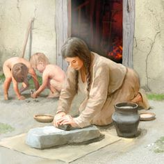 Woman from the pile dwelling settlement of Kehrsiten using a grinding stone by Joe Rohrer