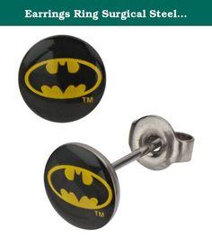 Earrings Ring Surgical Steel Post Ear pair Batman Bat man. sold as a pair.