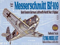 The Guillows 1/32 Messerschmitt Bf-109 is a balsa wood aircraft model kit from the range manufactured by Guillow.  The Messerschmitt BF-109 was a standard German Luftwaffe single seat fighter for nearly a decade. It is believed that more than 33,000 of these fighters were produced between 1936 and the end of World War 2. During the war, the BF-109 fought on every front in which the Luftwaffe was engaged. The BF-109 first saw actual combat during the Spanish Civil War.