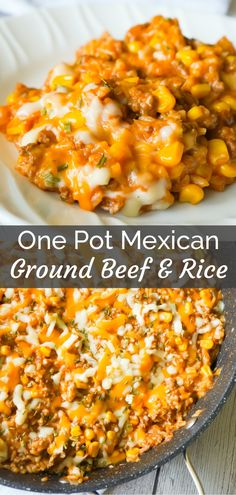 One Pot Mexican Ground Beef and Rice is a stove top dinner recipe loaded with ground beef, rice, salsa, corn and cheese. This cheesy ground beef and rice casserole is an easy dinner recipe perfect for weeknights. recipes for dinner beef rice Healthy Ground Beef, Ground Beef Recipes For Dinner, Dinner With Ground Beef, Easy Dinner Recipes, Casseroles With Ground Beef, Recipes For One, Easy Mexican Recipes, Ground Beef Recipes Mexican, Recipes With Beef Broth And Ground Beef