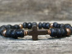 Mens Bracelet Cross Bracelet Beaded Bracelet by StoneWearDesigns, $39.00