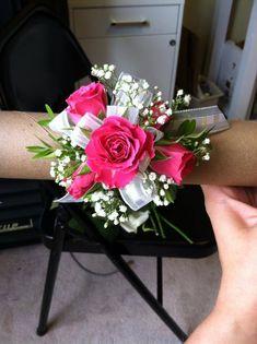 hot pink spray rose wrist corsage